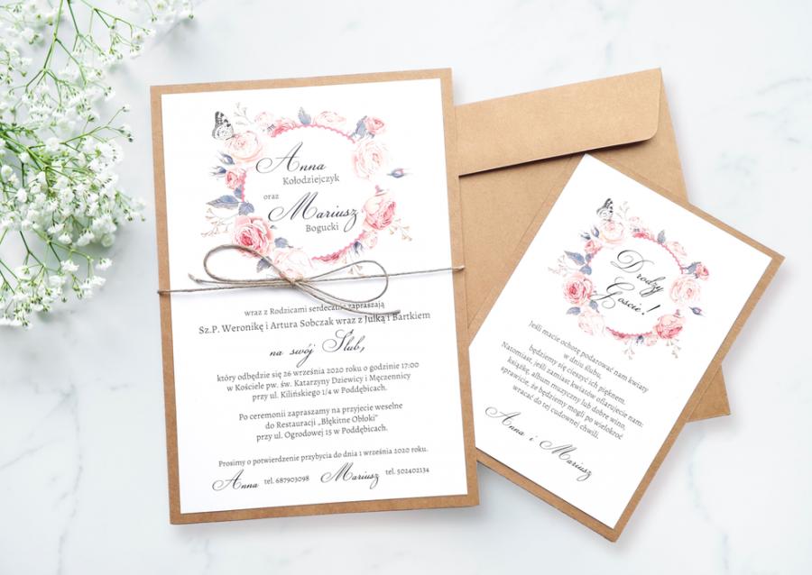 Zaproszenie Ślubne NE-01 - Peonie wianek